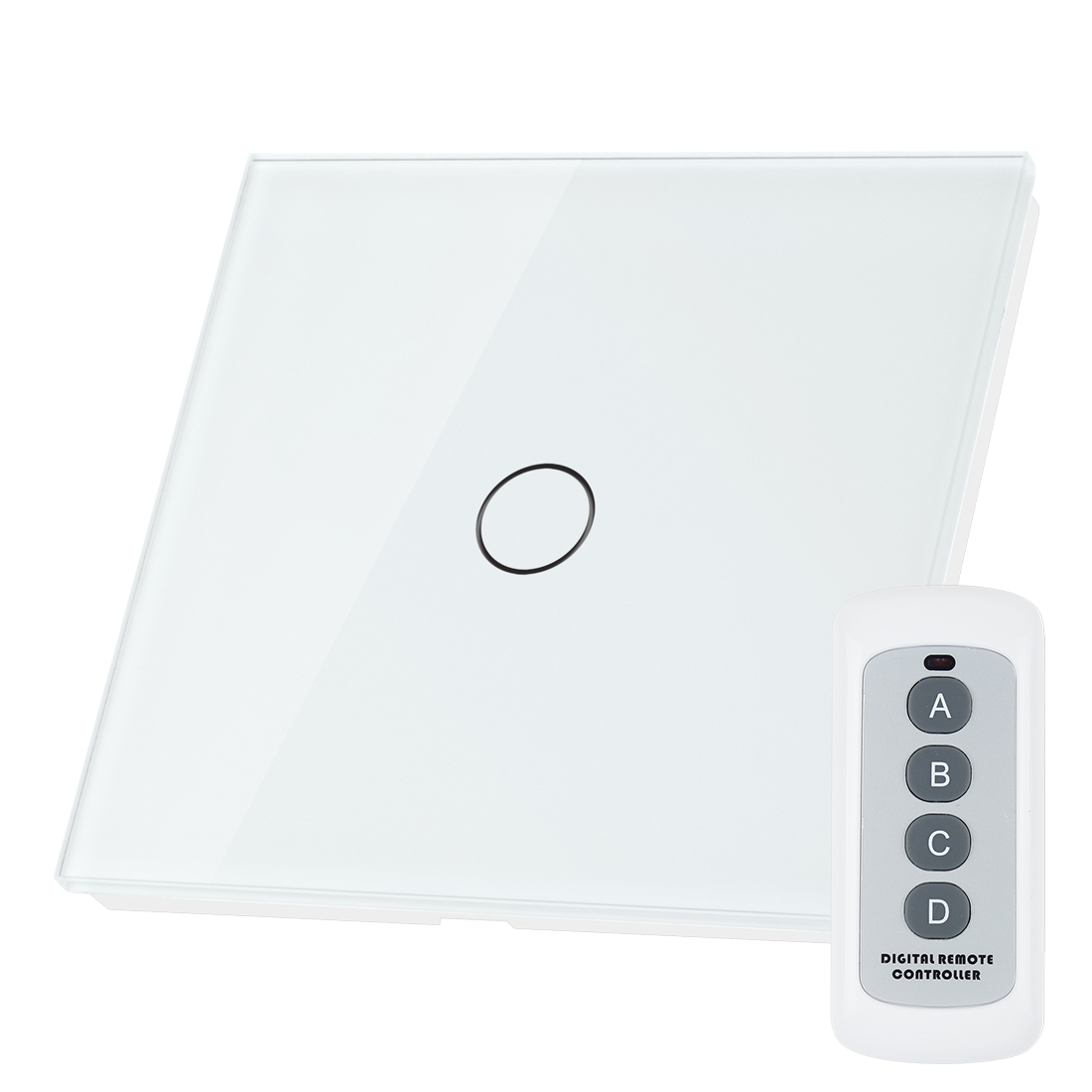 Crystal Glass 1 Gang 1 Way Panel Touch Remote Controller Light Switch White