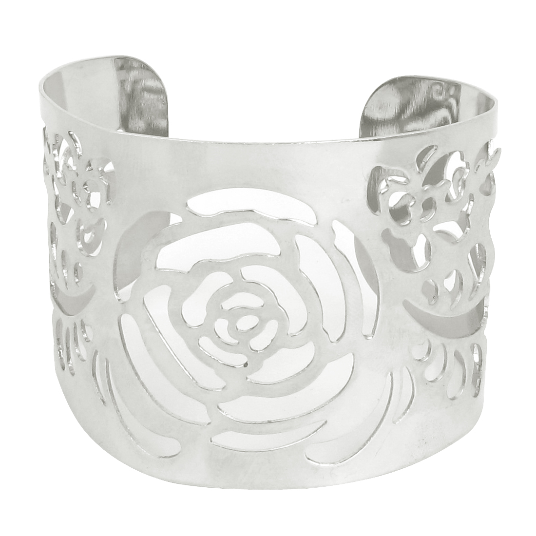 50mm Width Hollow Out Flower Pattern Wide Cuff Bangle Bracelet Silver Tone