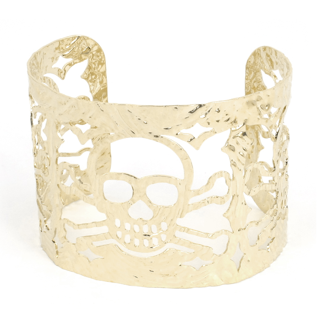 Adjustable Alloy Hollowed Skull Head Pattern Wide Cuff Bangle Bracelet Gold Tone