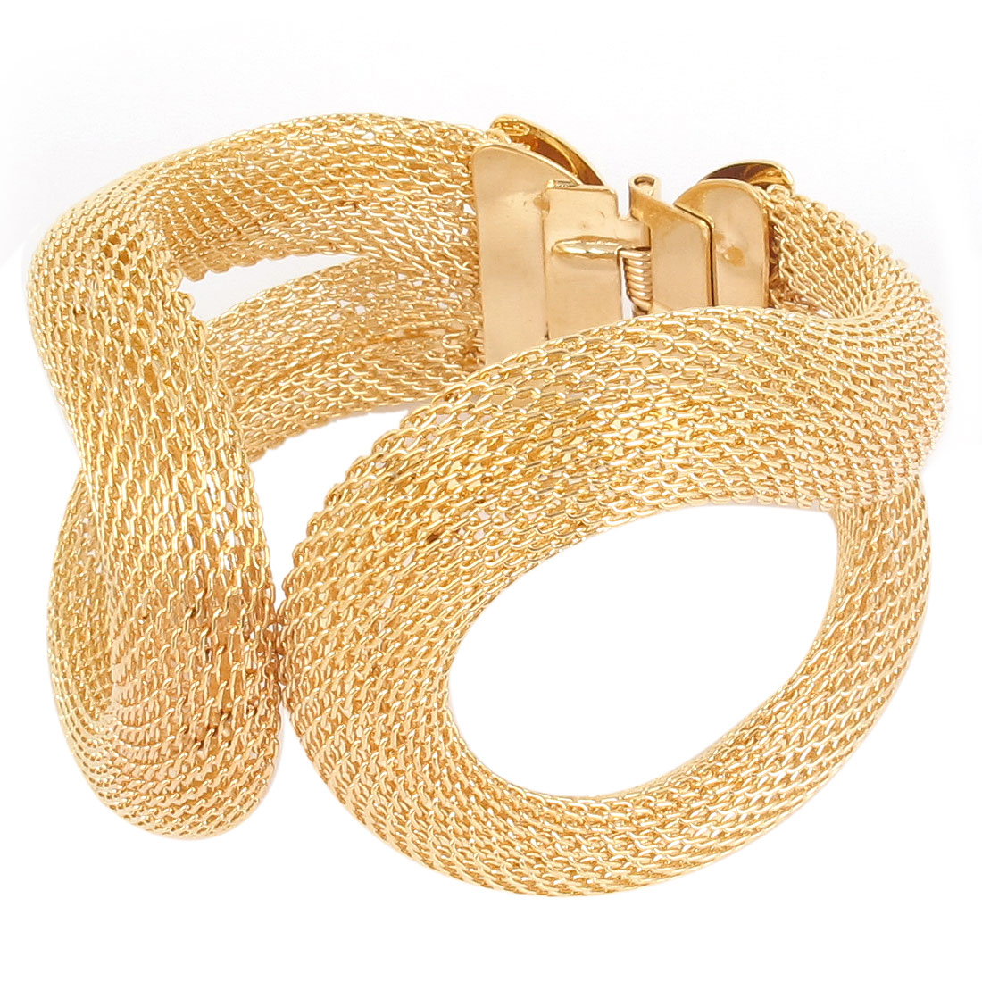 Women Lady Alloy Wide Mesh Spring Cuff Bracelet Costume Jewelry Bangle