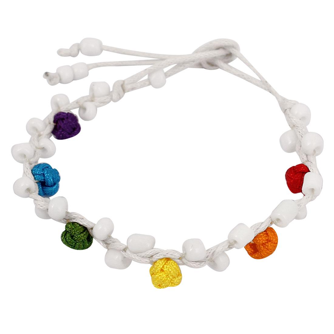 Women Plastic Bead Decor Nylon Braided White Rope String Bracelet