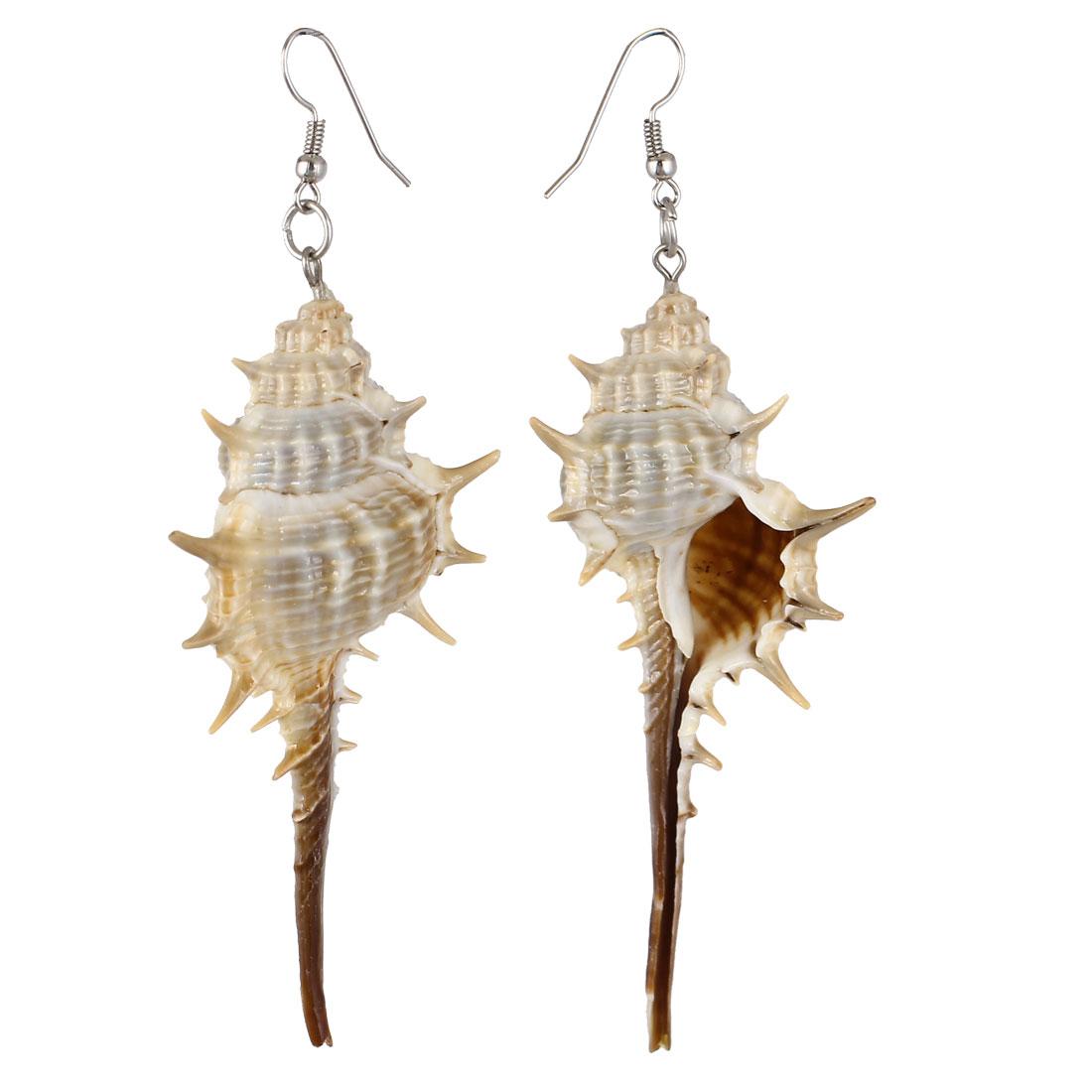 Lady Woman Cuspidal Shell Pendant Fish Hook Earrings Eardrops Pair