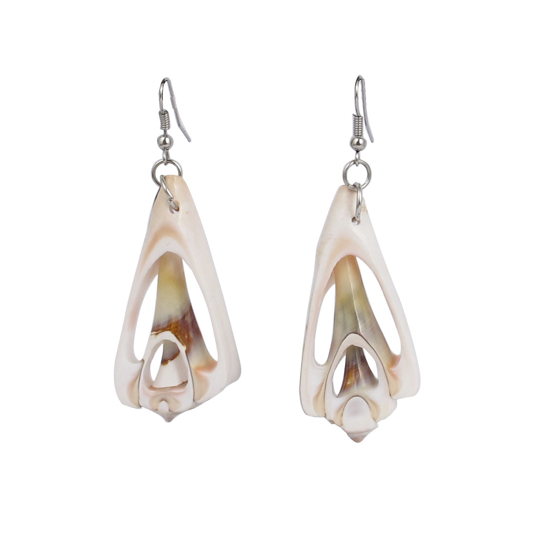 Triangle Seashell Bead Design Pendant Dangle Fish Hook Earrings Pair