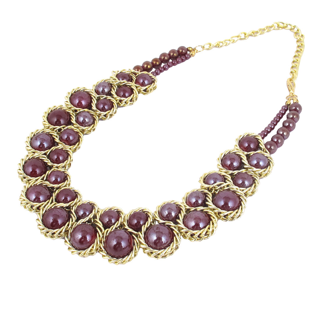 Woman Lady Purple Resin Beads Pendant Choker Bib Statement Collar Chain Necklace