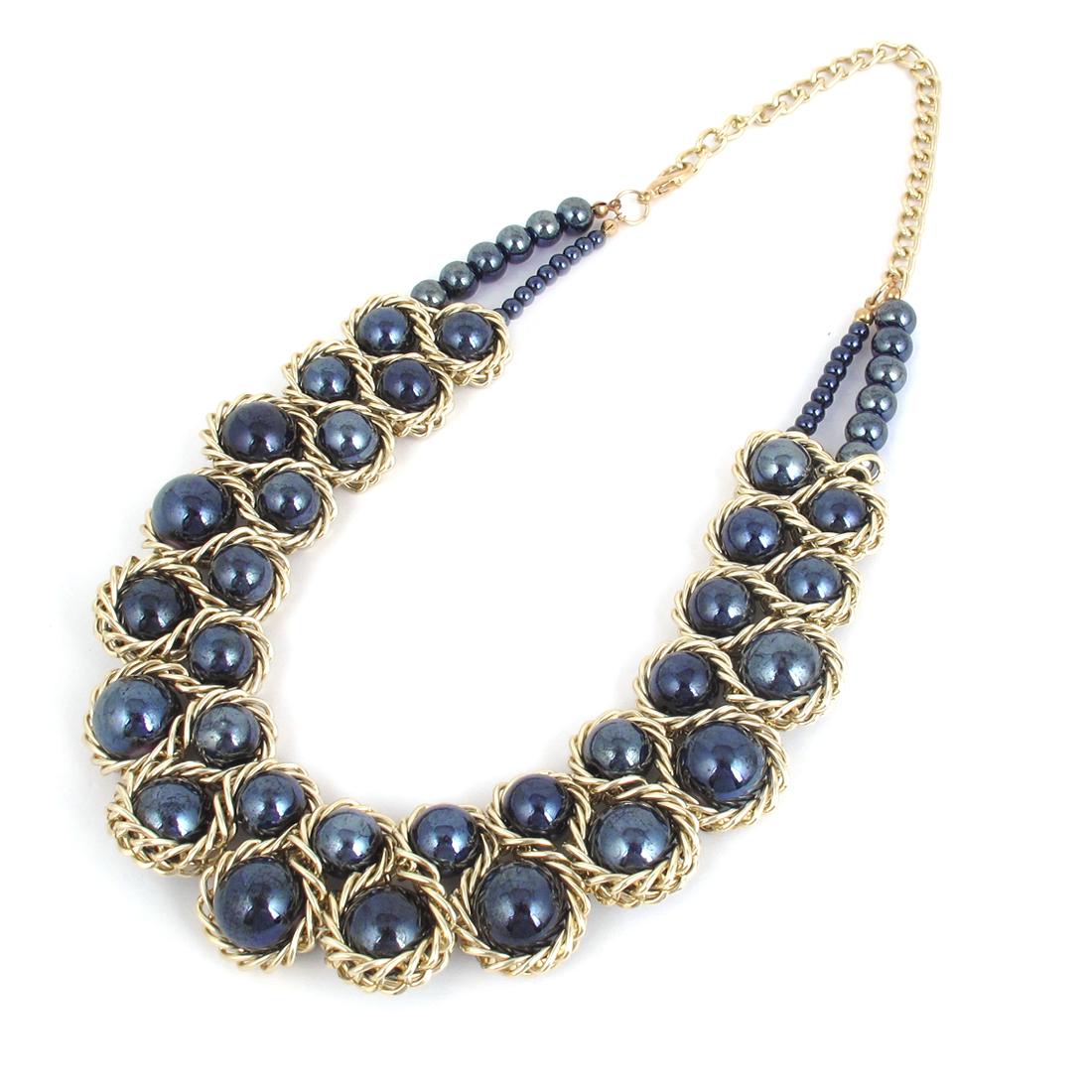 Lady Blue Beads Pendant Bib Choker Statement Collar Chain Necklace Gold Tone