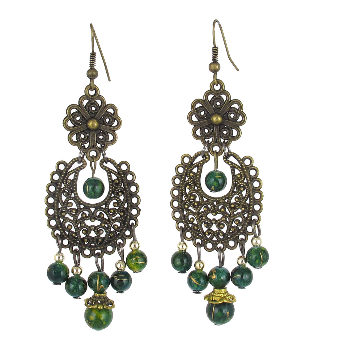 Bronze Tone Hollow Circle Green Beaded Fish Hook Chandelier Earrings Pair