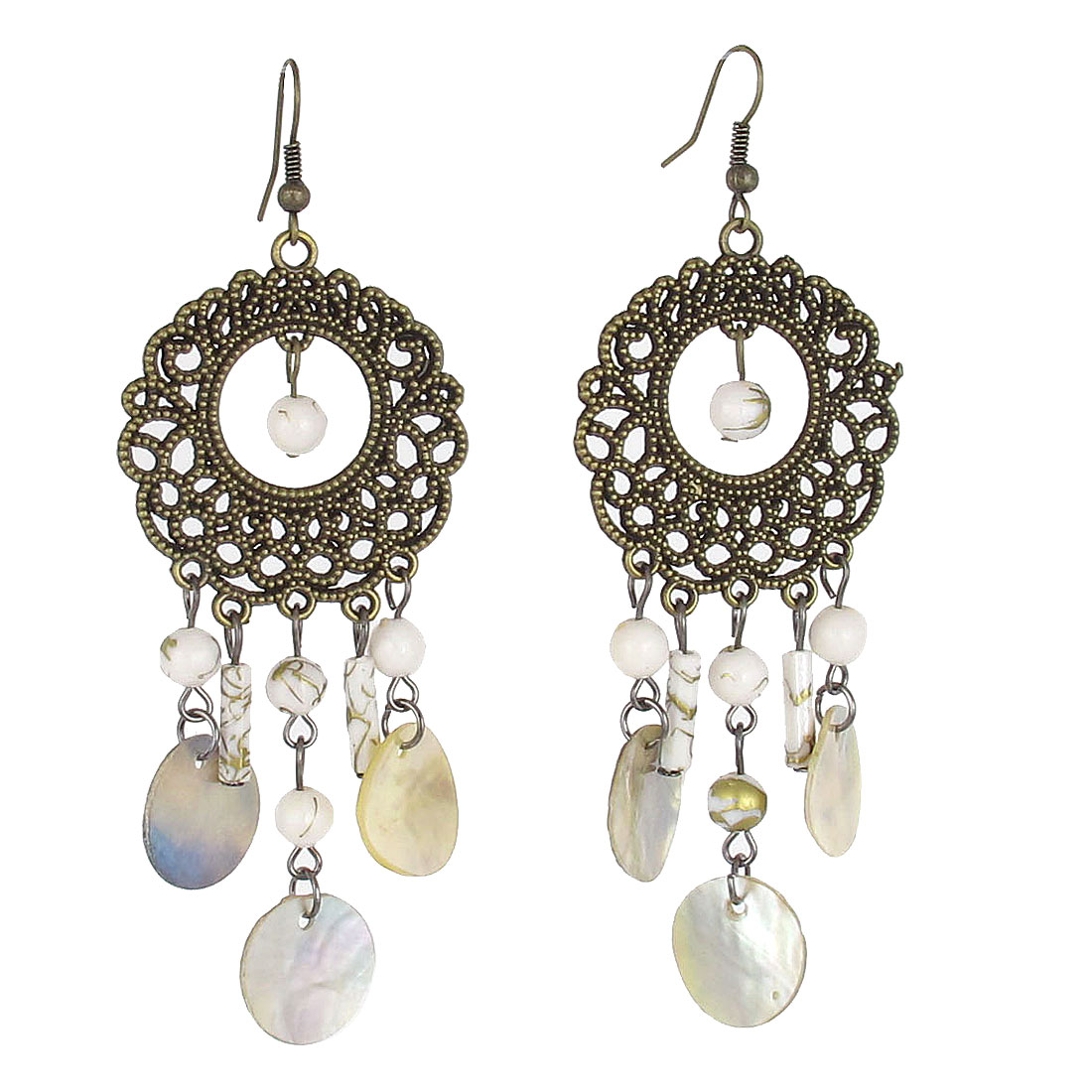 Bronze Tone Circle White Beaded Fish Hook Chandelier Earrings Pair