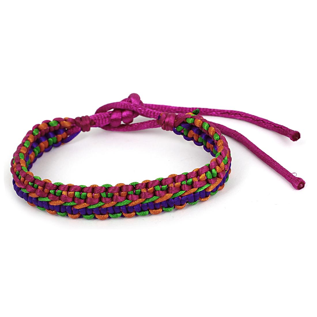 Fuchsia Nylon Lucky Handmade Braid Wrist Bracelet Rope