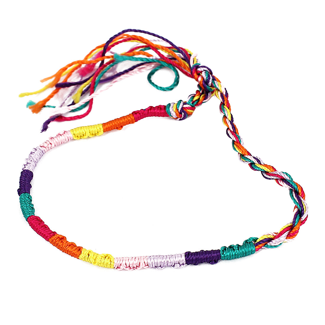 Lady Multicolor Handmade Braided Rope String Bracelet