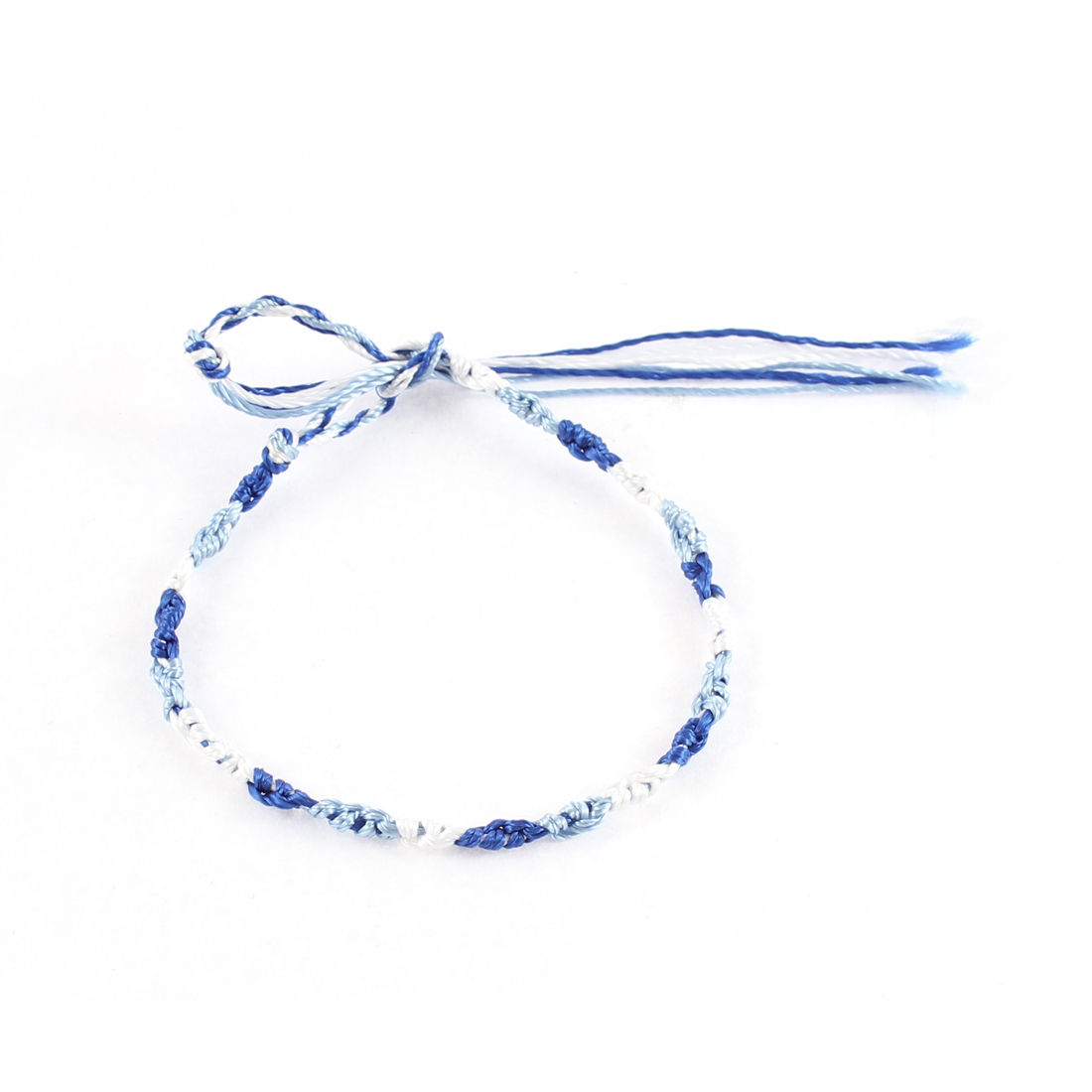 Ladies Blue Green Braid String Side White Closure Bracelet