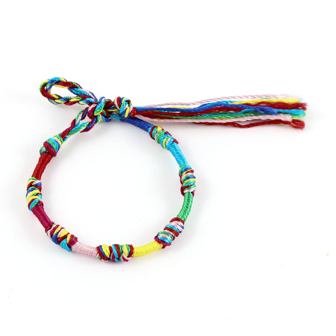 Multicolor Longevity Knot Lock Detail Lucky Braided Rope String Bracelet