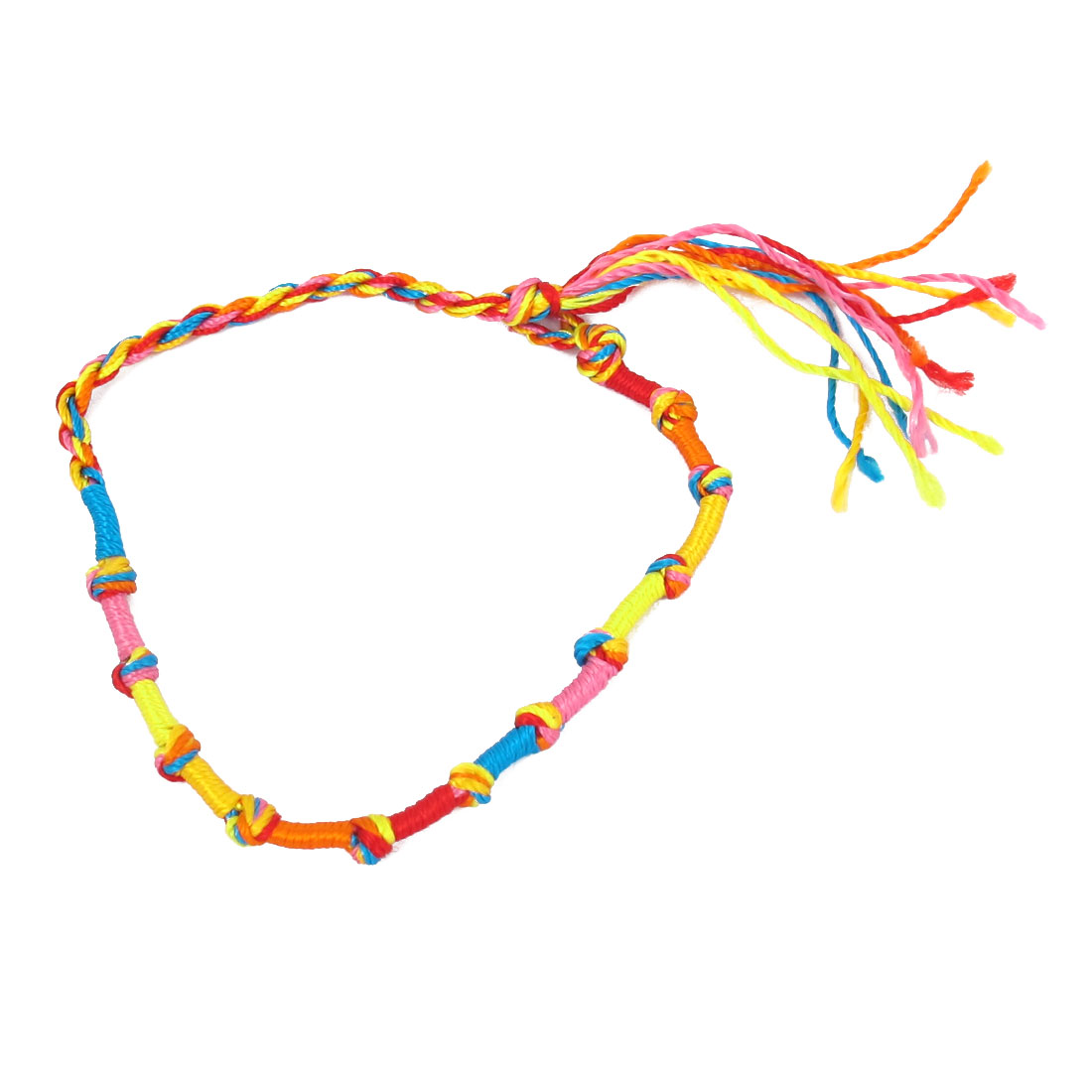 Knot End Multicolor Nylon Lucky Handmade Braid Wrist Bracelet Rope