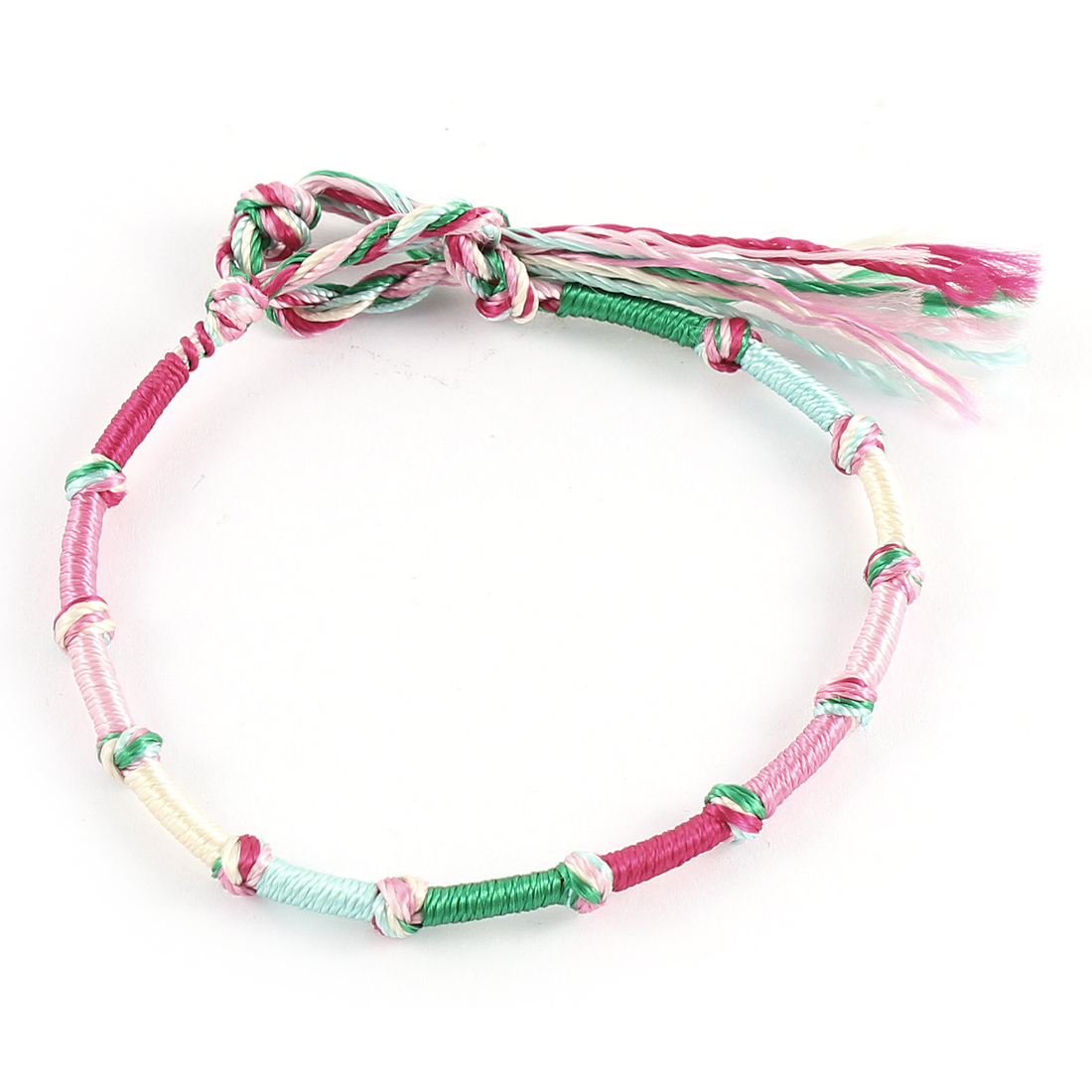 Lady Multicolor Hand Braided Ties of Love Nylon Charm Wrist Bracelet