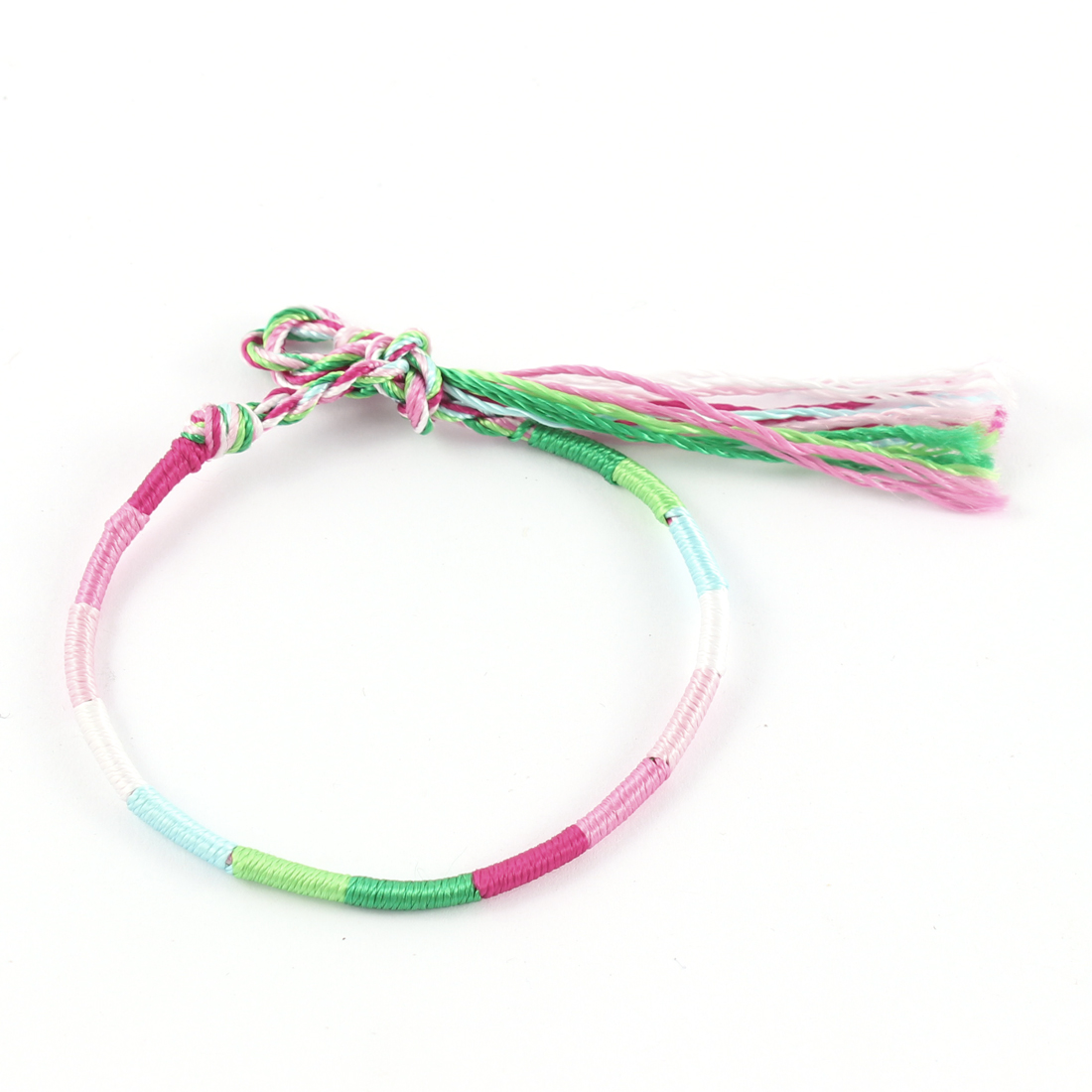 Lady Multicolor Hand Braided Knot Nylon Charm Wrist Bracelet