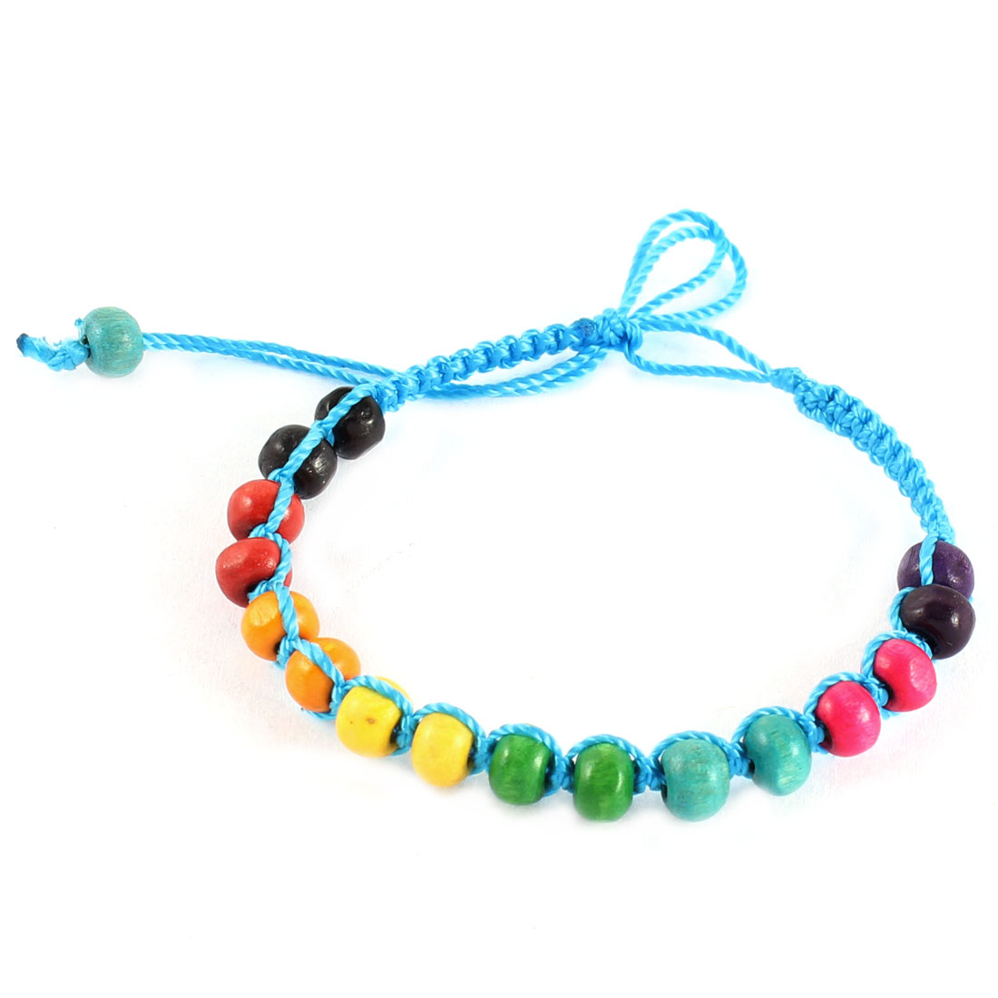 Assorted Beads Design Blue String Handmade Lucky Bracelet