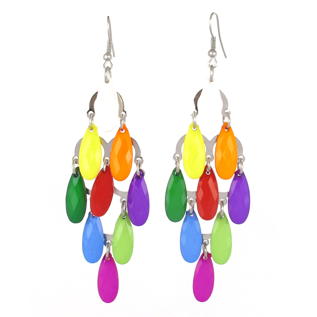 Ladies Silver Tone Half Circle Chain 9 Plastic Oval Fish Hook Earrings Multicolor Pair