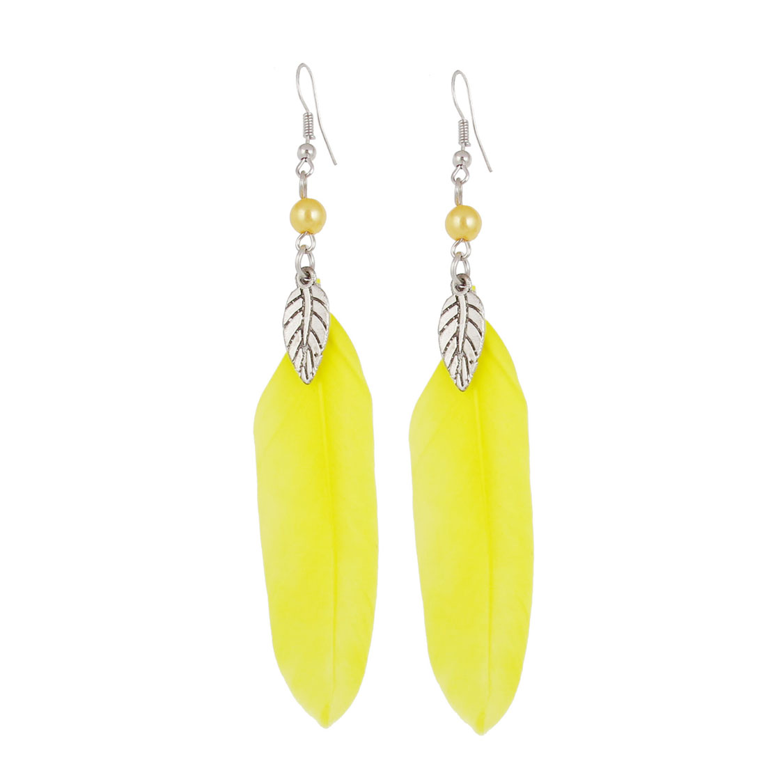 Ladies Women Yellow Beads Decor Dangling Fish Hook Earrings Pair