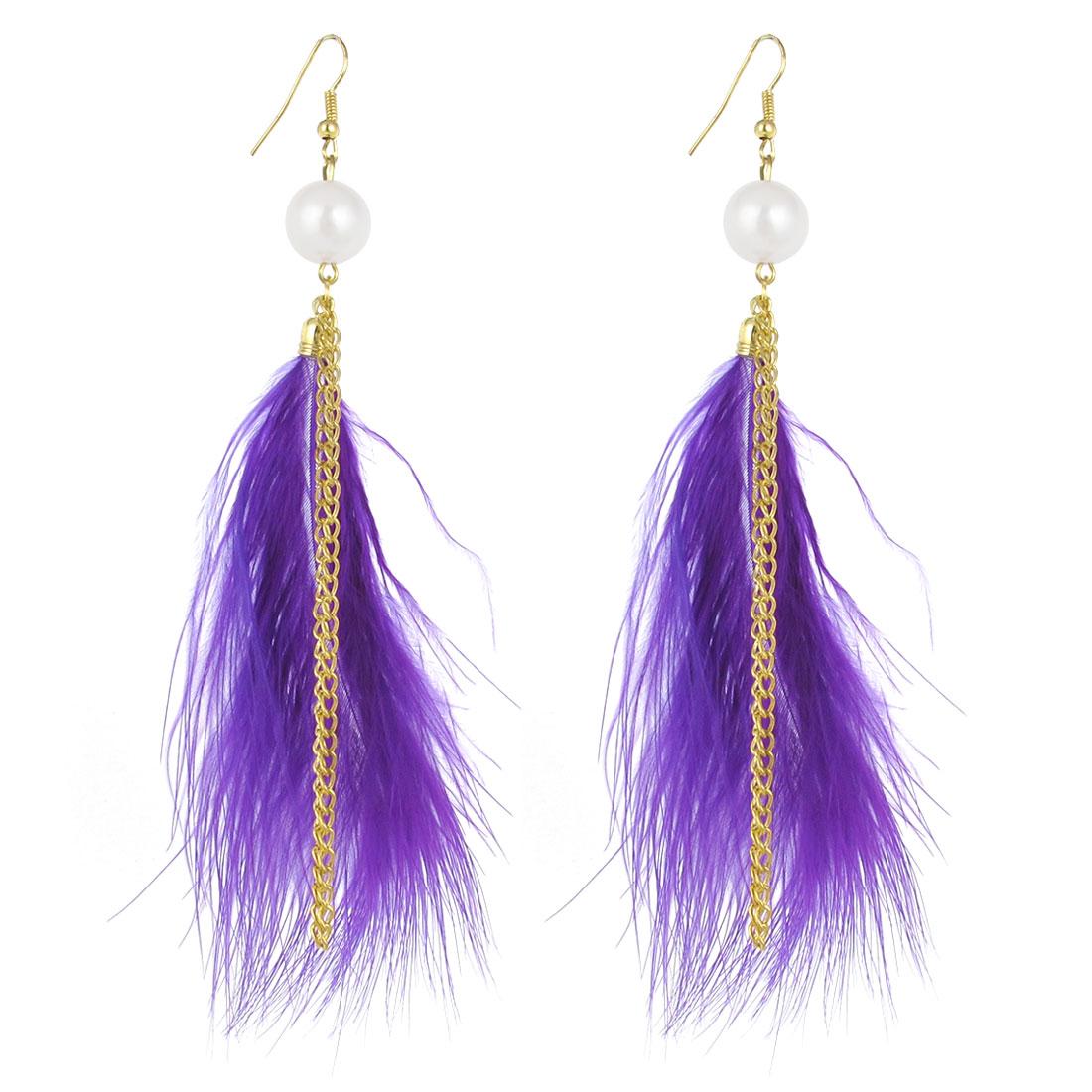 Women Faux Feather Pendant Fish Hook Dangle Earring Rings Purple Pair