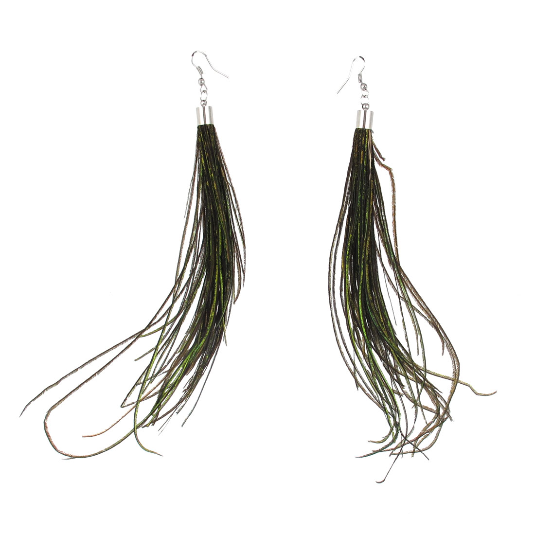 Ladies Feather Detailing Fish Hook Earrings Brown Silver Tone Pair
