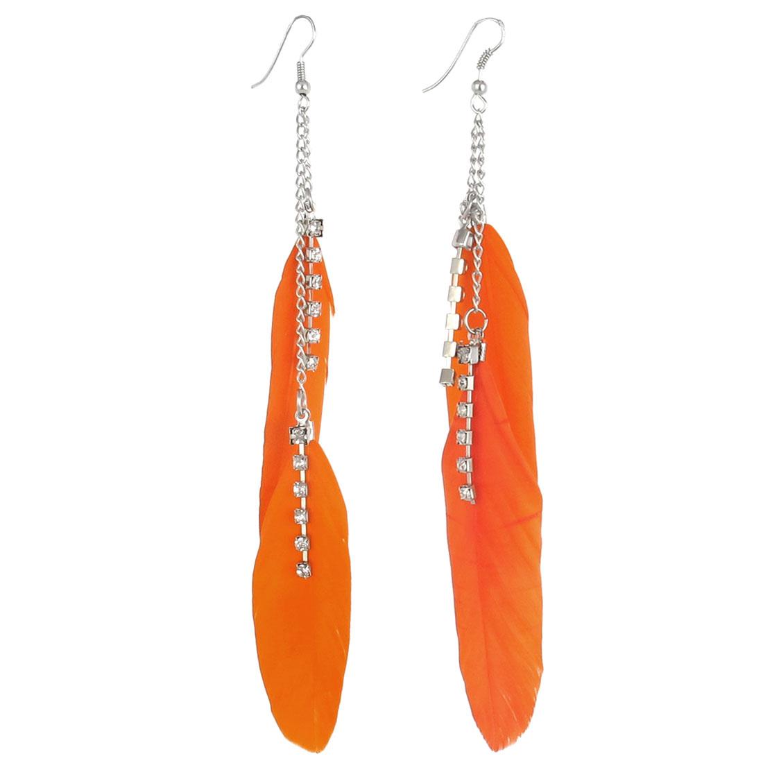 Faux Feather Pendant Fish Hook Dangle Earrings Eardrop Pair Orange