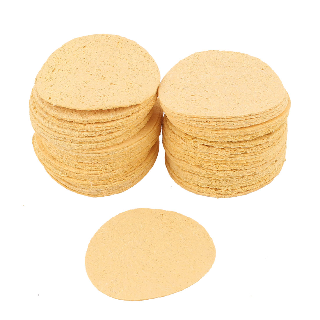 50pcs 50mm Dia Round Soldering Solder Iron Tip Replacement Sponges Welding Cleaning Pads Yellow
