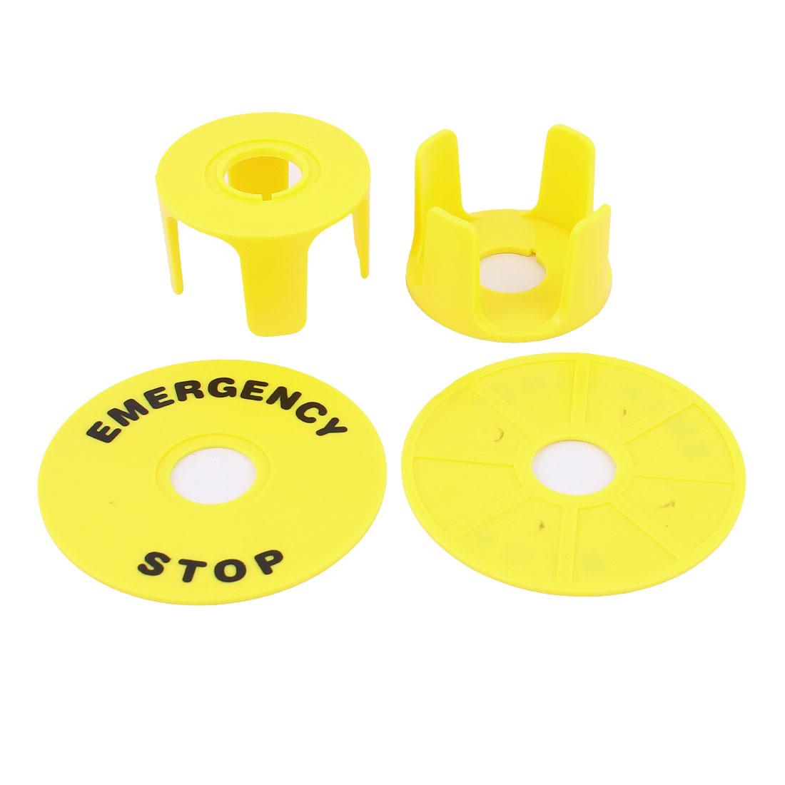 2Pcs Black Emergency Stop Print 22mm Cutout Yellow Plastic Push Button Switch Panel Label Plate Set