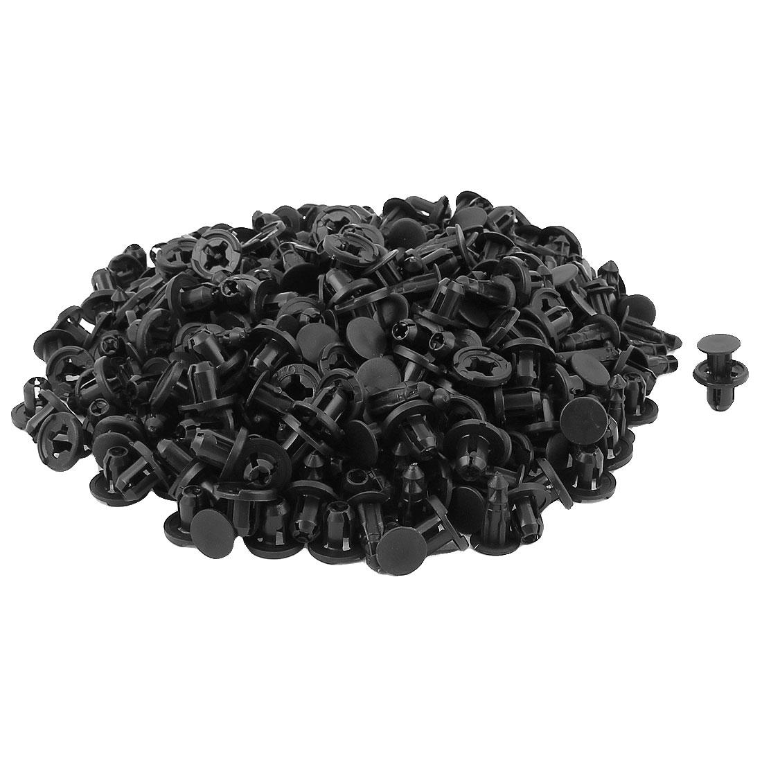 Car Fender 8mm Dia Hole Push in Type Black Plastic Clips Rivets Fastener 200Pcs