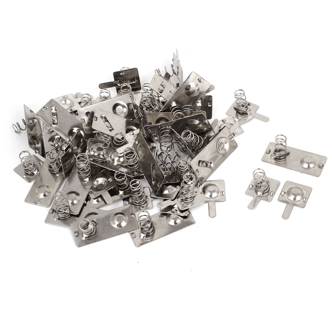 Silver Tone Metal AA Battery Connecting Spring Lamination Plates 22 Pcs