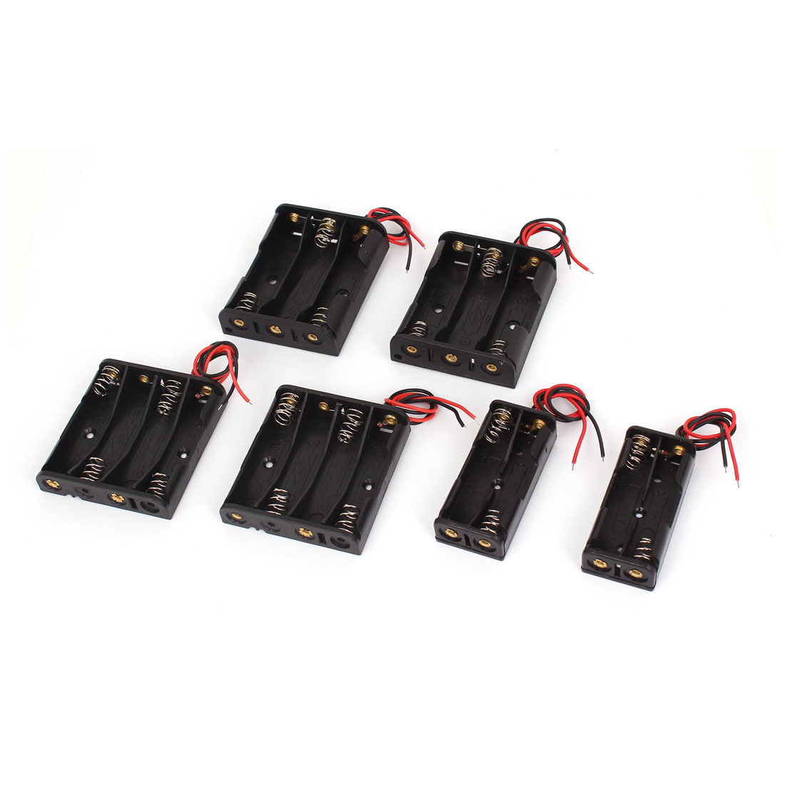 6pcs Black Wire Lead Battery Holder Box Case Set Kit for 1.5V AA AAA Batteries