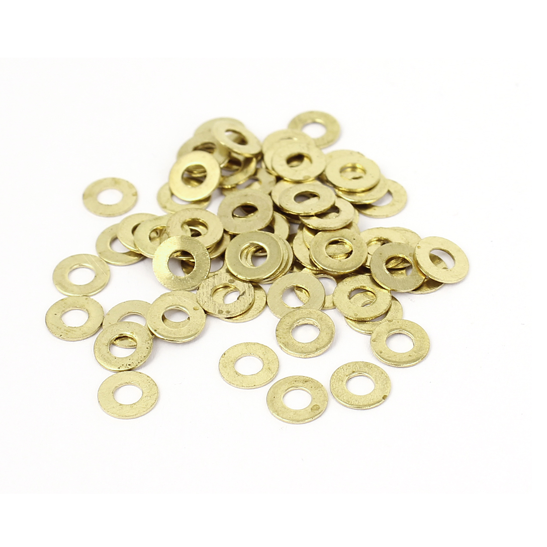 3mmx7mmx0.5mm Gold Tone Round Flat Metal Washers Spacer Fastener 70pcs