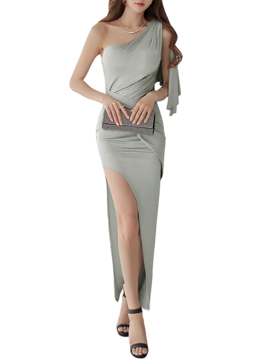 Ladies Sleeveless One Shoulder Layered Split Side Casual Maxi Dress Light Gray M