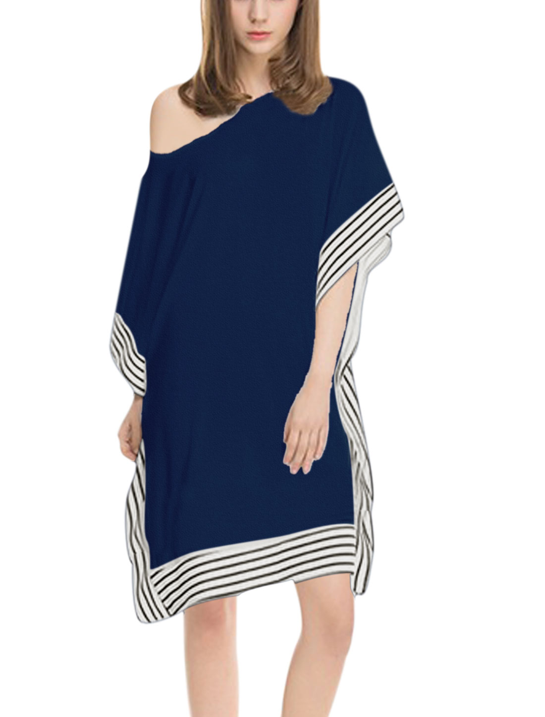 Ladies 3/4 Sleeve Stripes Cape Design Loose Tops Blouses Navy Blue S
