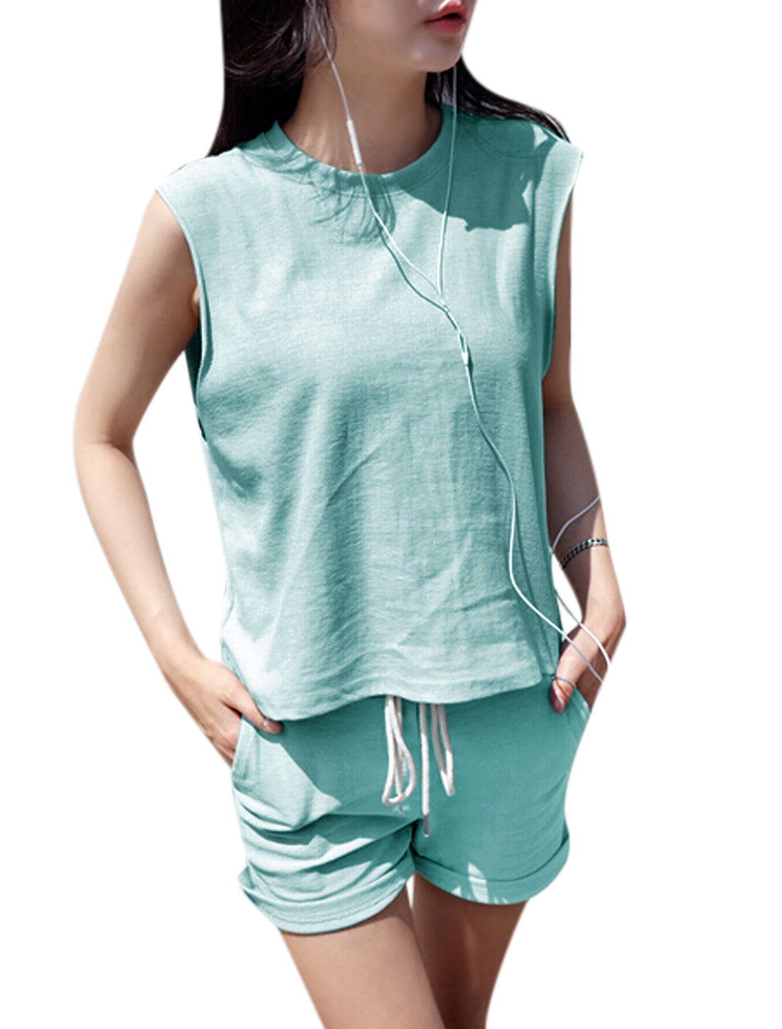 Woman Sleeveless Round Neck Tee w Drawstring Waist Shorts Sets Light Blue S