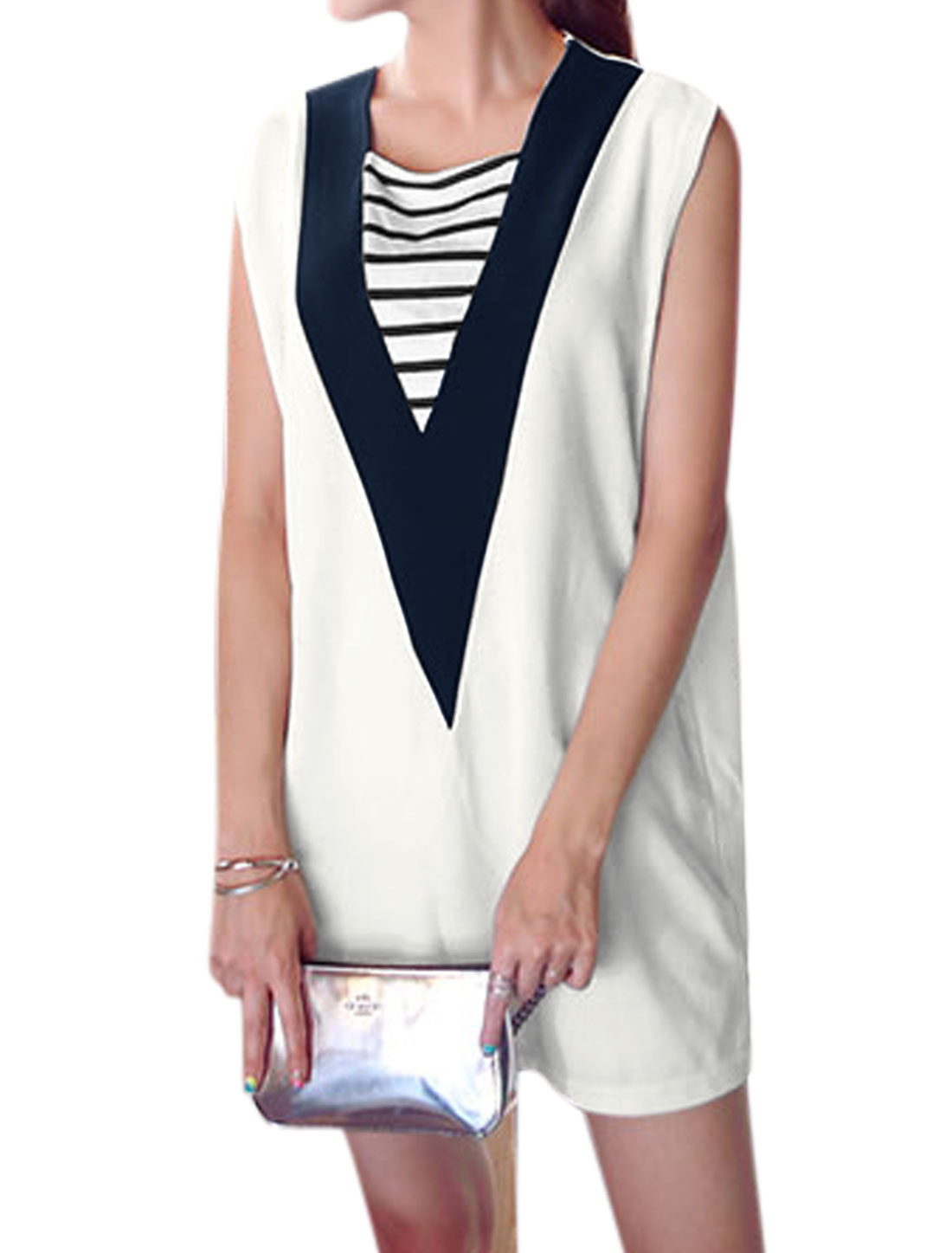 Woman Stripes Detail Contrast Color Sleeveless Shift Dress White S