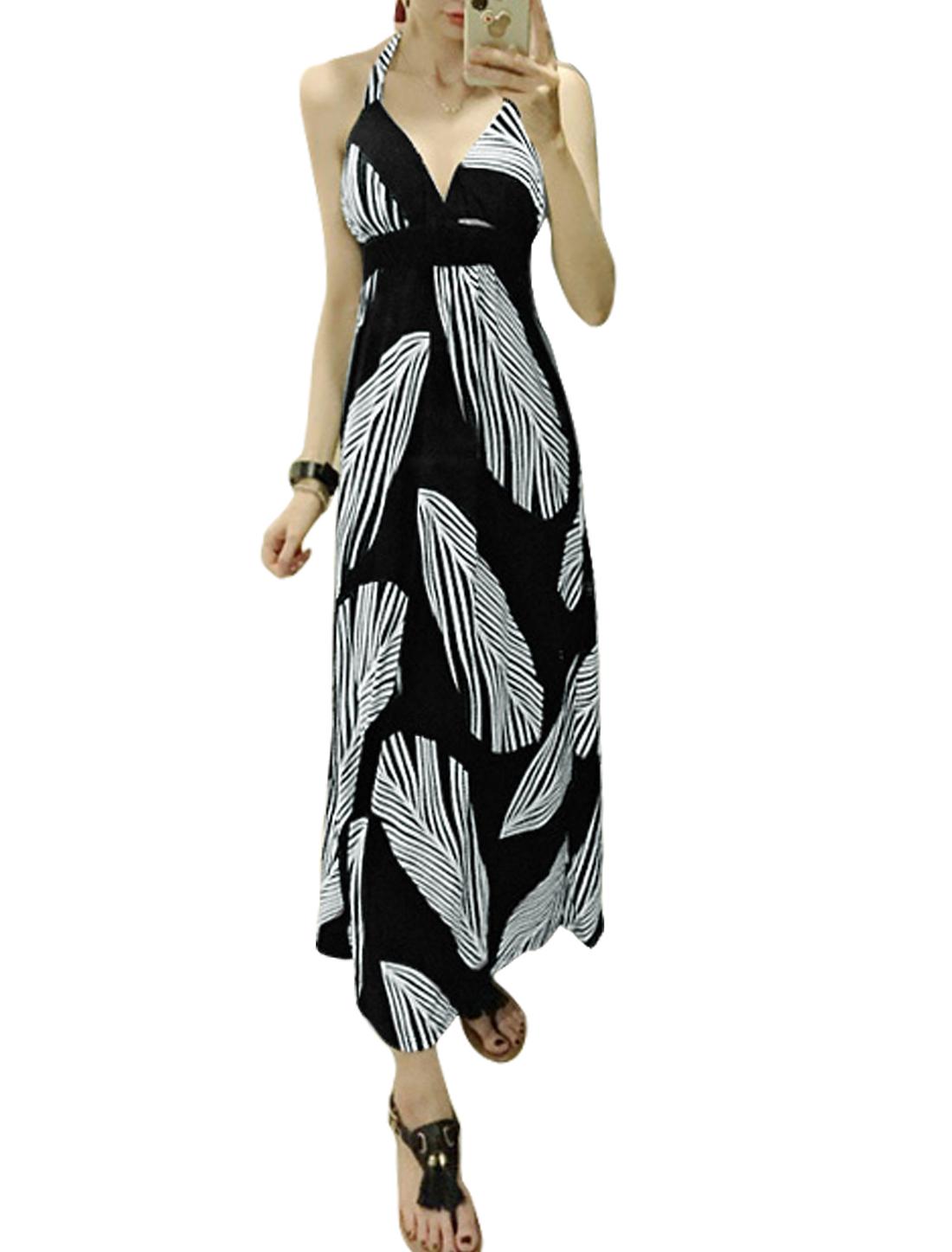 Woman Leaves Pattern Halter Neck Backless Elastic Waist Maxi Dress Black XS
