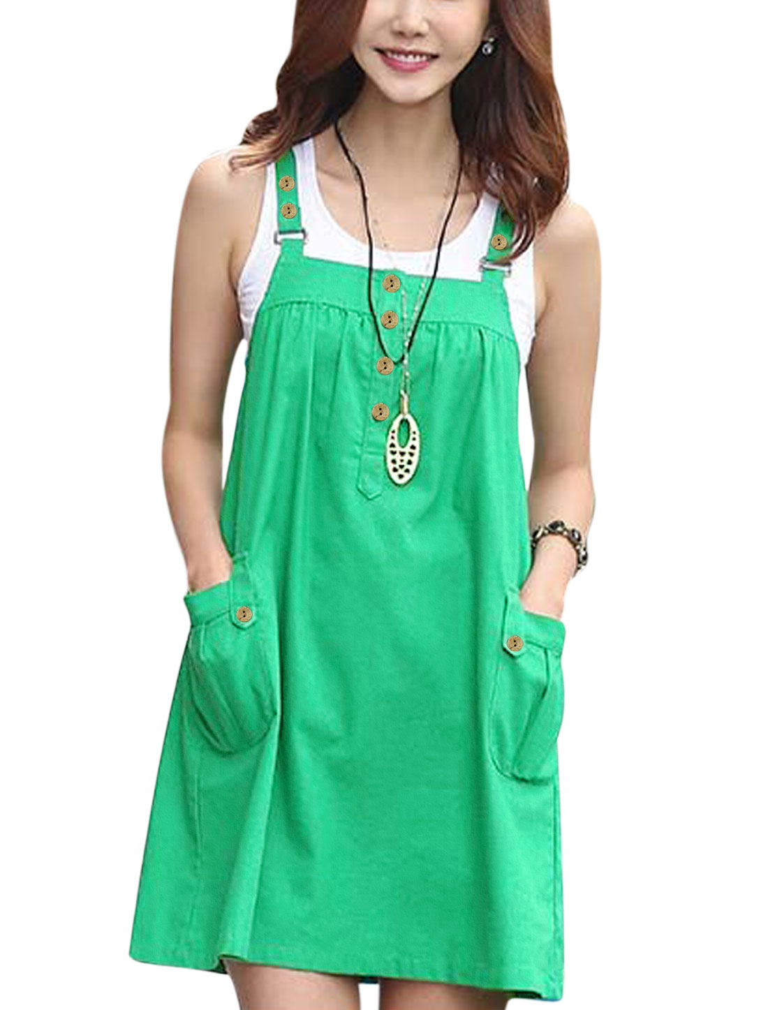 Woman Buttons Closure Adjustable Straps A Line Suspender Dress Green M