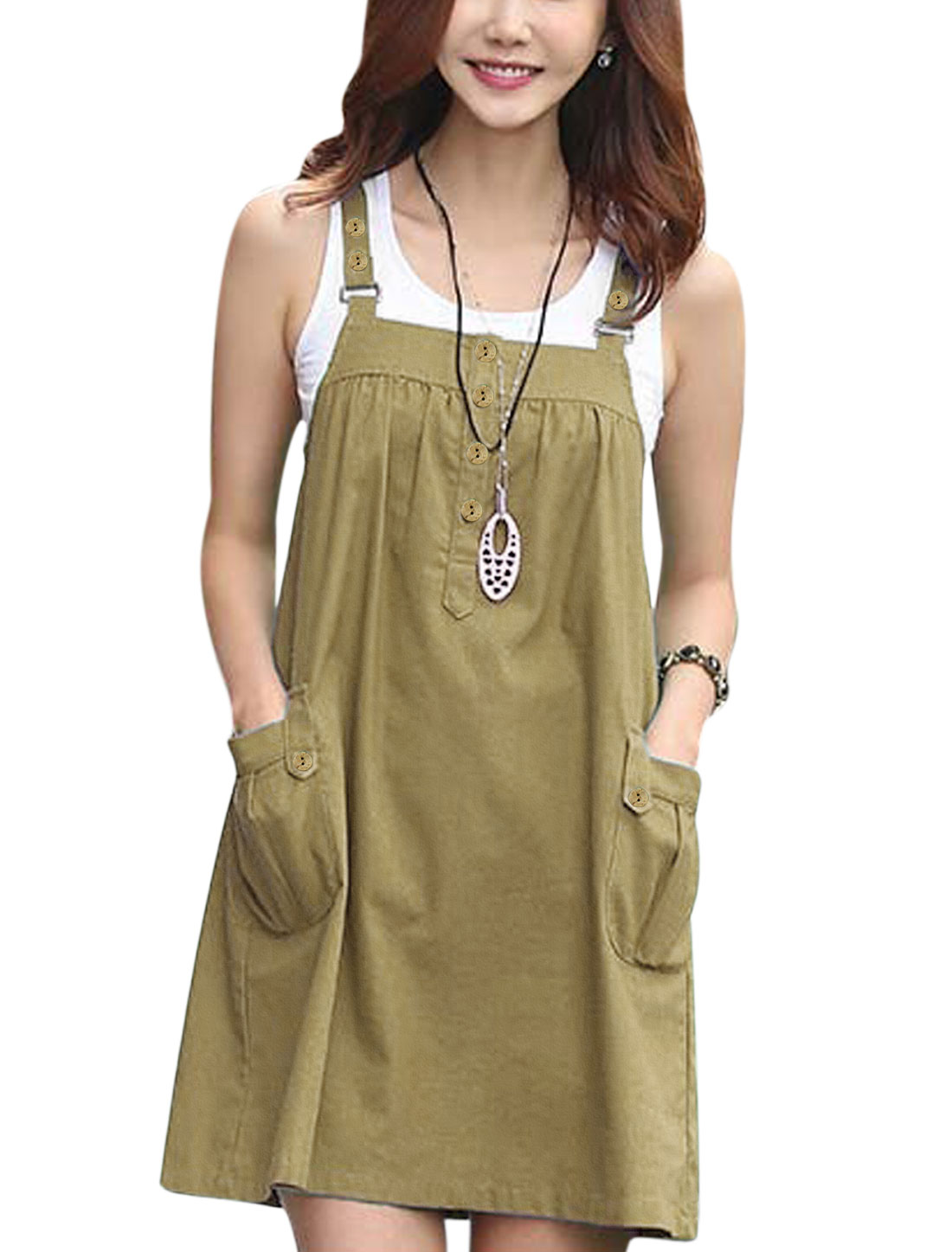 Woman Buttons Closure Two Pockets Front Unlined Suspender Dress Camel M