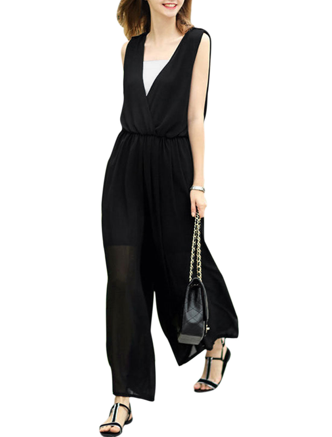 Ladies Cami Top w Wide Leg Crossover V Neck Jumpsuits Black XS