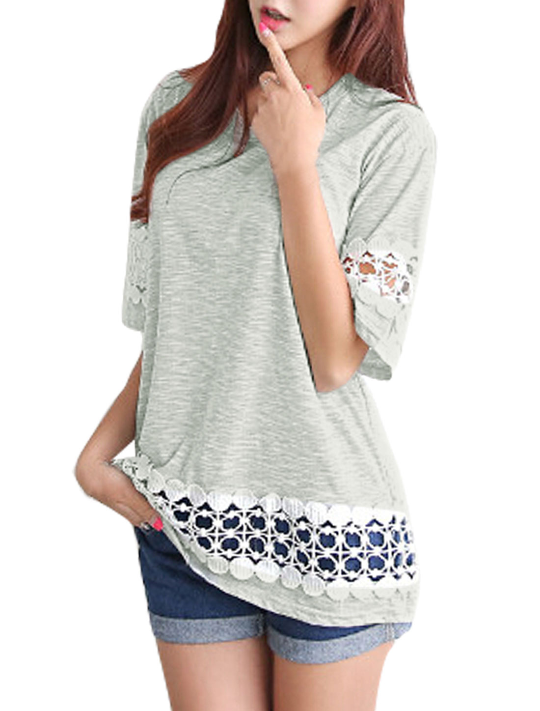 Woman Hollow Out Crochet Design Half Length Sleeves Tunic Top Light Gray XS