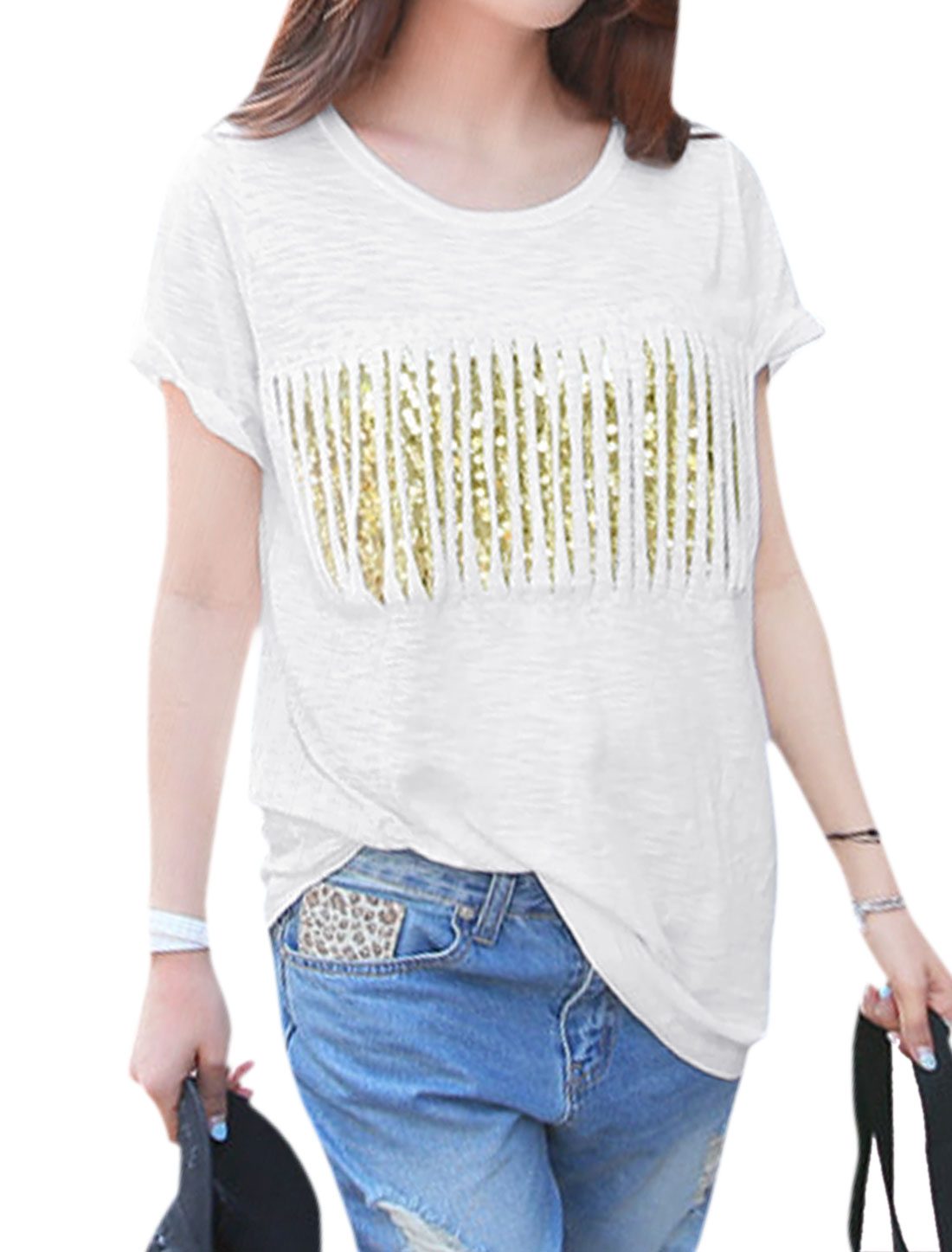 Woman Fringed Design Mesh Panel Sequined Front Short Sleeves Tee White S