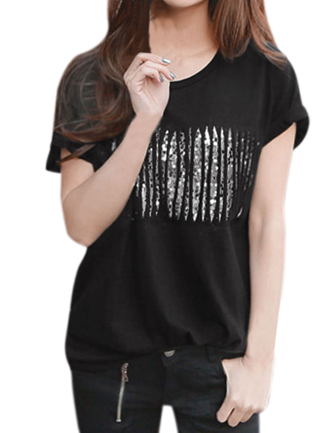 Woman Fringed Design Sequined Front Short Sleeves Casual Tee Black S