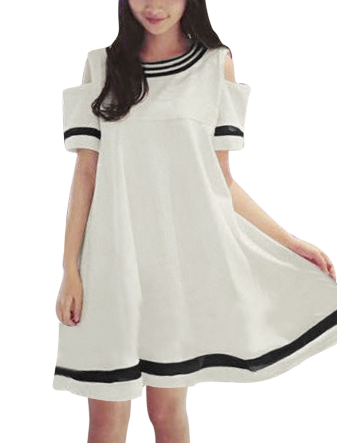 Women Stripes Design Cut Out Shoulder Round Neck A Line Dress White S