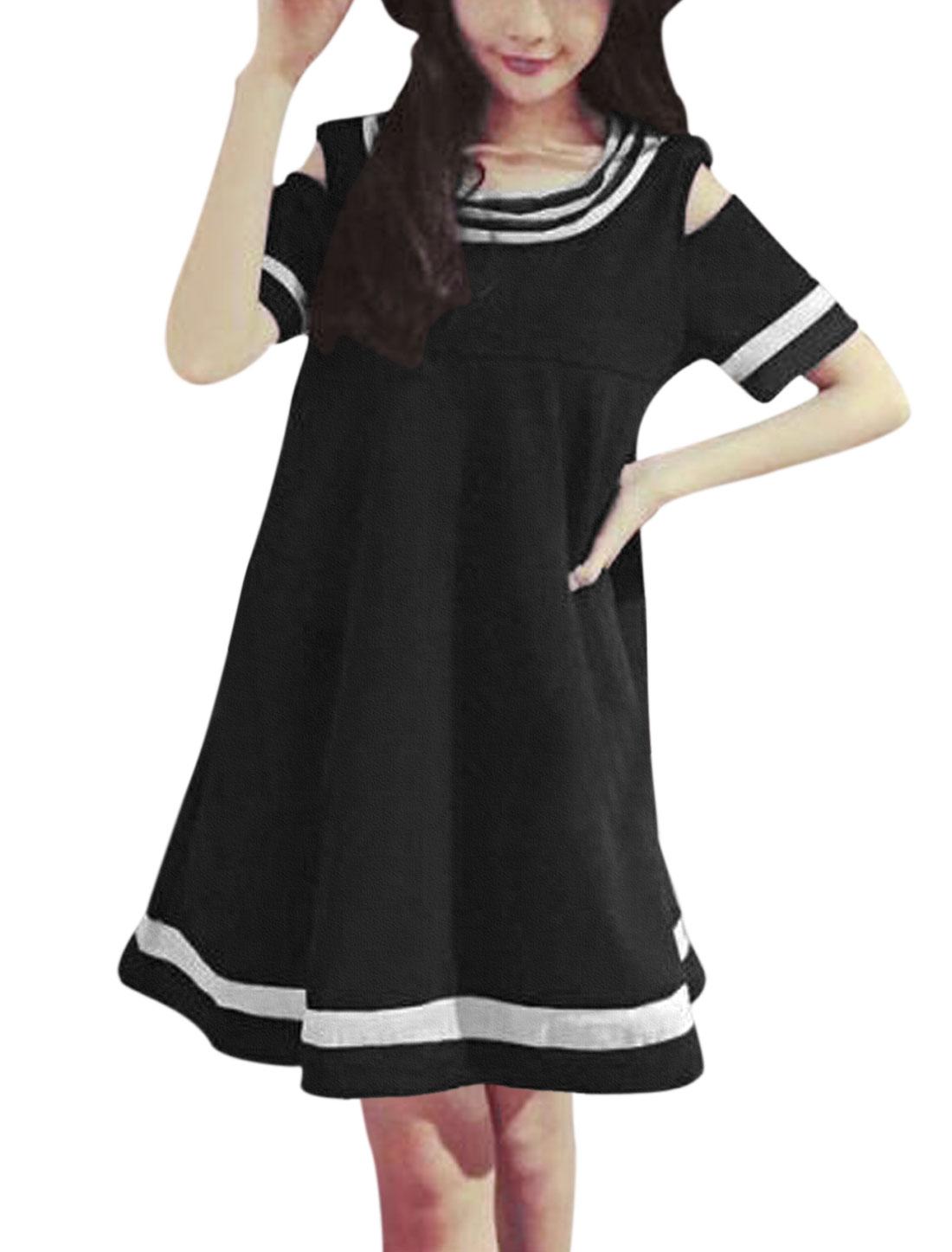 Women Stripes Design Cold Shoulder Short Sleeves A Line Dress Black S