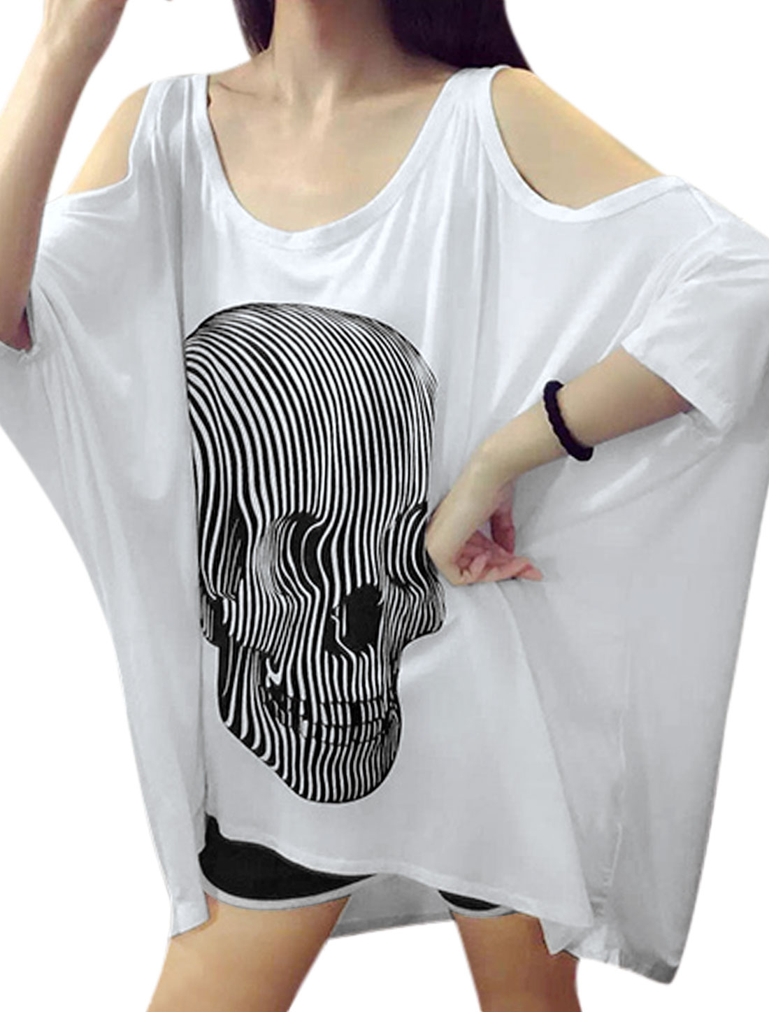 Woman Skull Pattern Scoop Neck Cut Out Shoulder Oversized Tunic Top White S