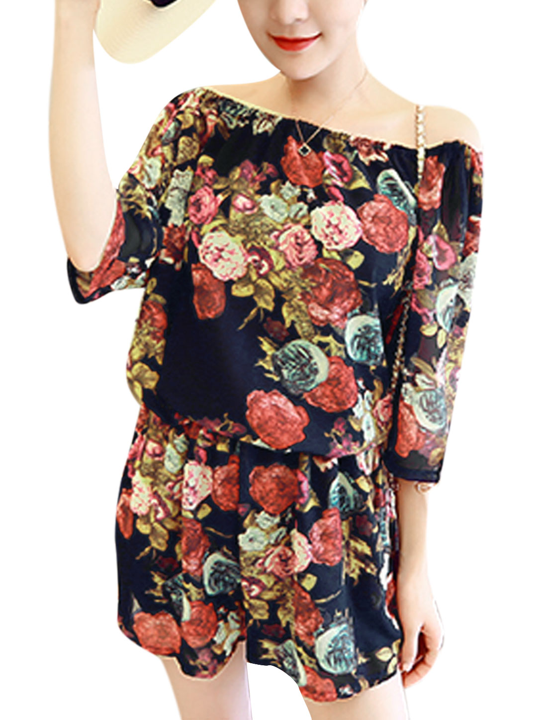 Woman Floral Prints Off-the-Shoulder Elastic Upper Chiffon Romper Navy Blue XS