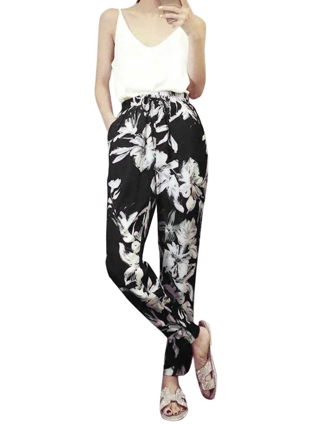 Ladies Casual Top w Floral Print Front Pockets Pants White Black XS