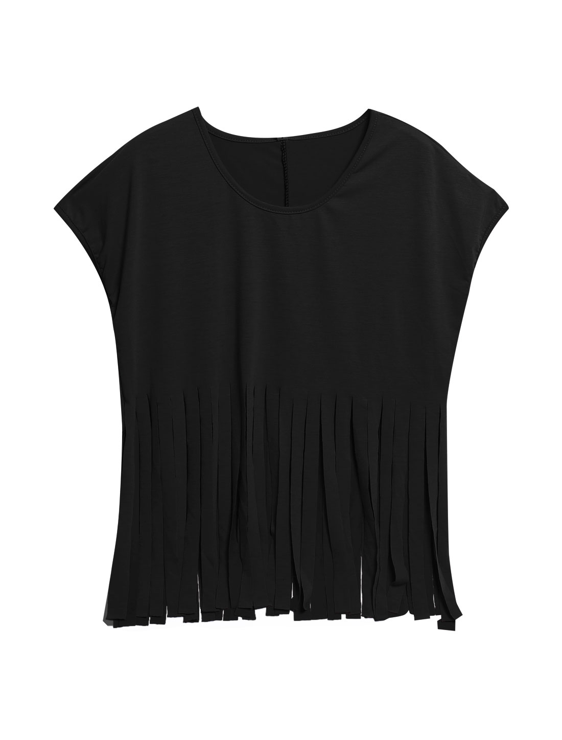 Women Short Batwing Sleeve Tassels Hem Loose Top Blouse Black XS