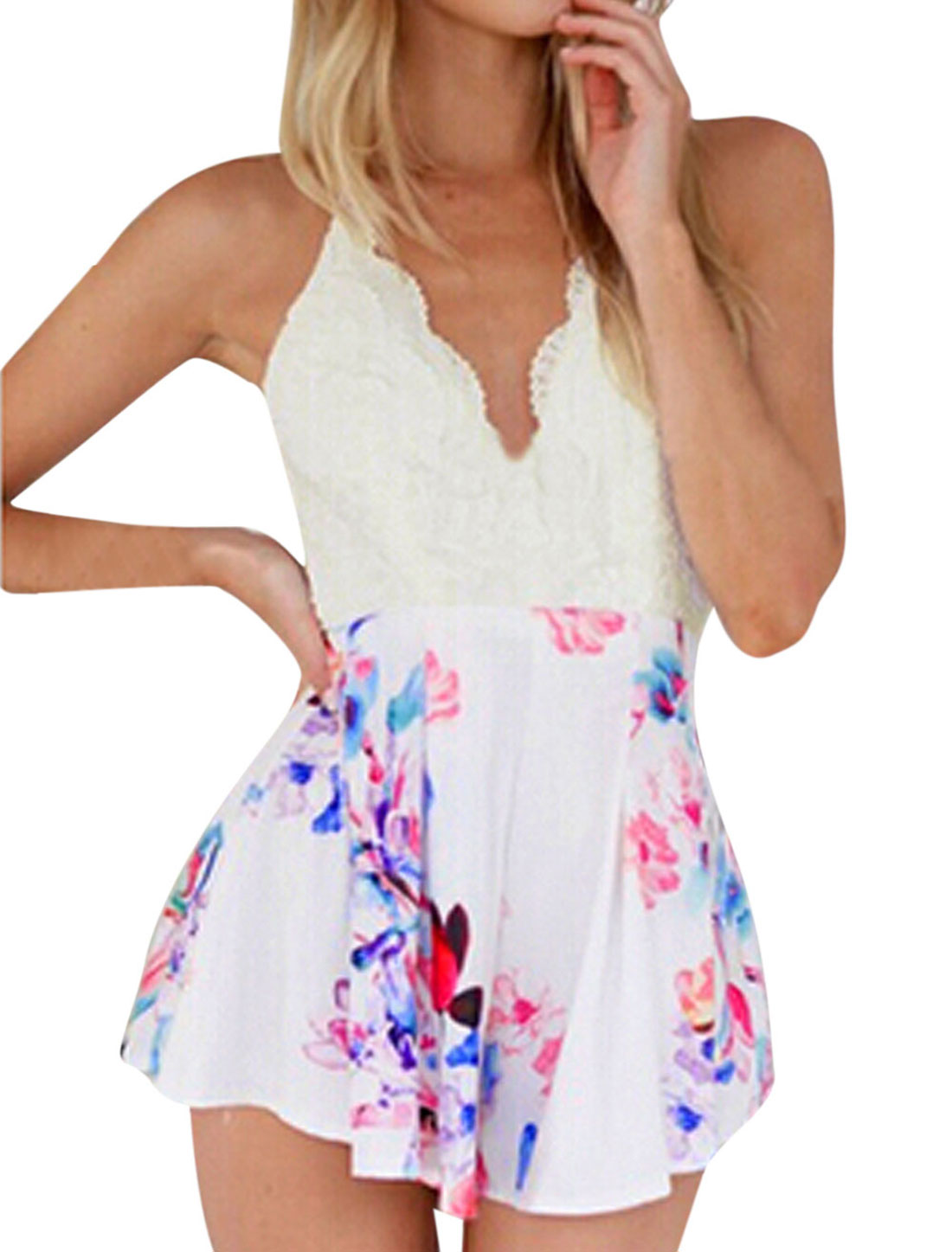 Ladies Spaghetti Strap Floral Print Panel Backless Wide Leg Rompers White L
