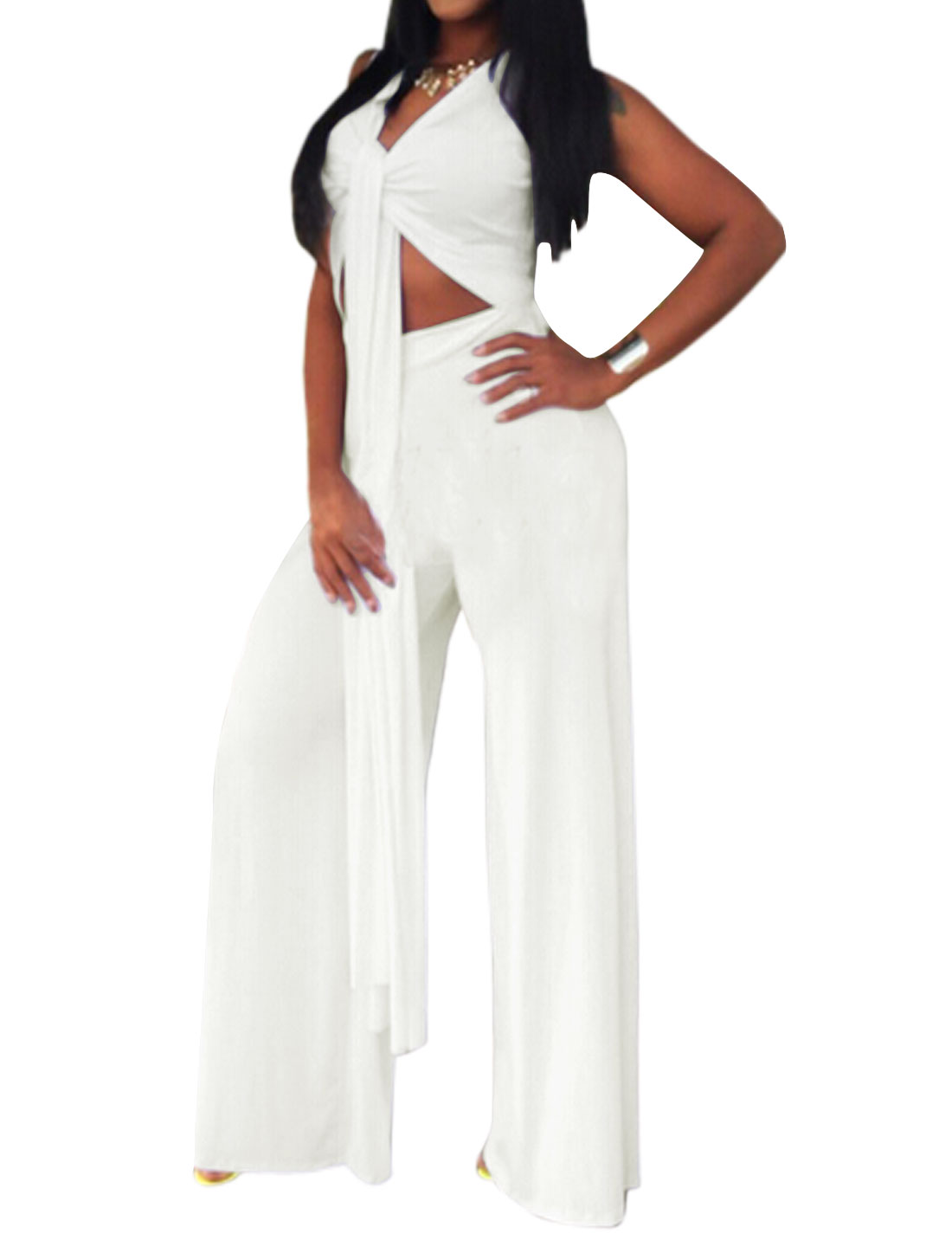 Ladies Sleeveless Self Tie Front Cut Out Front Casual Wide Leg Jumpsuits White L
