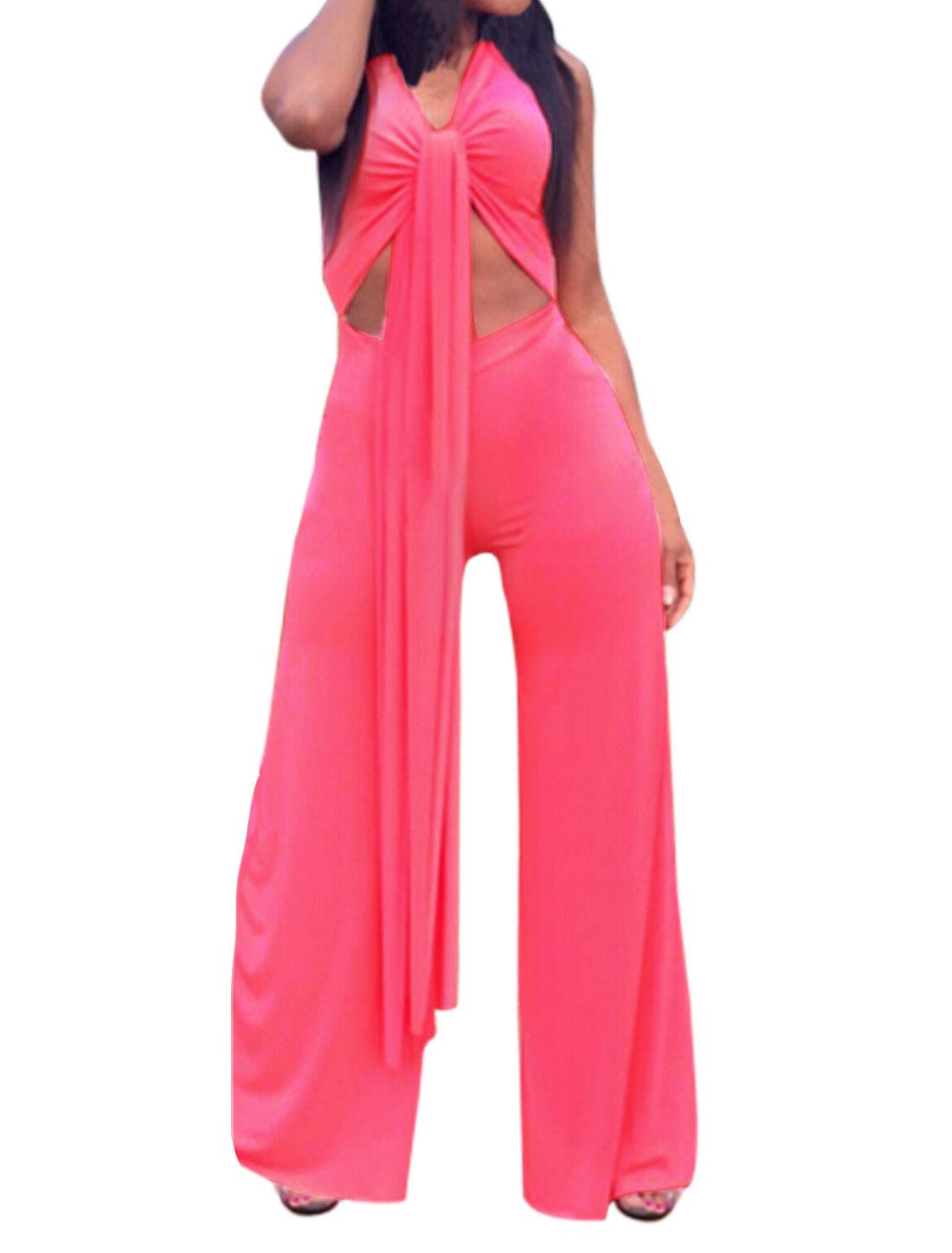 Women Sleeveless Self Tie Front Casual Wide Leg Jumpsuit Fuchsia L